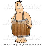 Humorous Clip Art of a Naked Man Wearing a Wood Keg Barrel Around His Waist by Djart