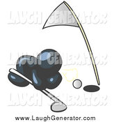Humorous Clip Art of a Navy Blue Man Trying to Blow a Golf Ball into the Hole by Leo Blanchette