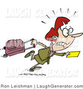 Humorous Clip Art of a Nervous Caucasian Woman in a Hurry to Catch Her Flight by Toonaday
