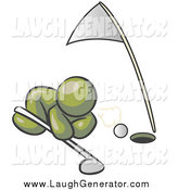 Humorous Clip Art of a Olive Green Man Trying to Blow a Golf Ball into the Hole by Leo Blanchette