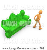 Humorous Clip Art of a Orange Man in Pain, Trying to Pull Needles out of His Butt After Sitting on a Disguised Cactus Couch by 3poD