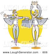 Humorous Clip Art of a Pair of Businessmen in Tights, Ballet Dancing with a Briefcase by Andy Nortnik