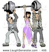 Humorous Clip Art of a Pair of Caucasian Struggling Businessmen Holding up Weights on a Barbell While a Woman Grasps the Bar by Leo Blanchette