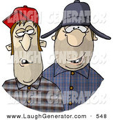 Humorous Clip Art of a Pair of Southern Redneck Men by Djart