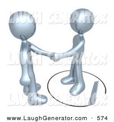 Humorous Clip Art of a Pair of Unsuspecting Silver Man Shaking Hands on a Deal with Another Man As a Saw Cuts a Circle out from Under Him by 3poD