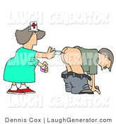 Humorous Clip Art of a Patient Getting an Injection of Antibiotics in the Butt by a Nurse with a Syringe by Djart