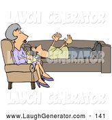 Humorous Clip Art of a Patient Middle Aged Woman, a Counselor, in a Purple Dress, Seated Cross Legged in a Chair While Listening to Her Client Vent by Djart