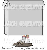Humorous Clip Art of a Person Squatting in a Box by Djart
