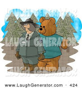Humorous Clip Art of a Person Wearing a Bear Costume While Trying to Prank a Female Forest Ranger by Djart