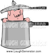 Humorous Clip Art of a Pig in a Pot by Djart