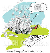 Humorous Clip Art of a Pile of People Lying Dead Under Tax Documents by MacX