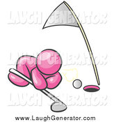Humorous Clip Art of a Pink Man Trying to Blow a Golf Ball into the Hole by Leo Blanchette