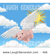 Humorous Clip Art of a Pink Pig Flying Through the Sky on a Sunny Spring Day, when Pigs Fly by AtStockIllustration