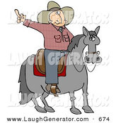 Humorous Clip Art of a Pissed off Cowboy Sitting on a Saddle on a Lazy Old Horse, Flipping off Someone Behind Him by Djart