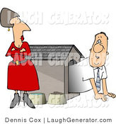 Humorous Clip Art of a Pissed Wife Staring down Her Hubby in a Dog House by Djart
