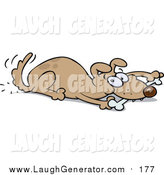 Humorous Clip Art of a Playful Dog Wagging His Tail and Chewing on a Bone While Laying down by Gnurf
