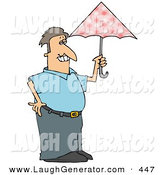 Humorous Clip Art of a Prissy Caucasian Man Carrying a Pink Umbrella by Djart