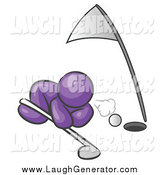 Humorous Clip Art of a Purple Man Blowing a Golf Ball into the Hole by Leo Blanchette