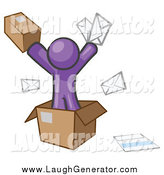 Humorous Clip Art of a Purple Man Going Postal with Parcels and Mail by Leo Blanchette