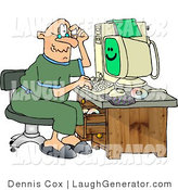 Humorous Clip Art of a Puzzled Elderly Man Using a Computer by Djart