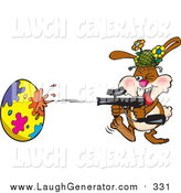 Humorous Clip Art of a Rabbit Having a Blast While Decorating an Easter Egg with a Paintball Gun by Dennis Holmes Designs