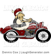 Humorous Clip Art of a Rebel Sheep Riding a Motorcycle by Djart