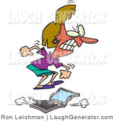 Humorous Clip Art of a Red Faced Flustered Woman Jumping on a Laptop Computer by Toonaday