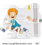Humorous Clip Art of a Red Haired Boy Stealing Toilet Paper from a Restroom by BNP Design Studio