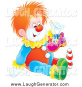 Humorous Clip Art of a Red Haired Clown Holding up One of His Shoes and Sitting on the Floor by Alex Bannykh