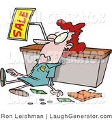 Humorous Clip Art of a Red Haired Employee Trampled During a Sale by Toonaday