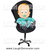 Humorous Clip Art of a Red Haired White Baby Boy in a Suit, Sitting in an Office Chair by BNP Design Studio