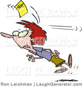 Humorous Clip Art of a Red Haired Woman Chasing a Yellow Memo Slip by Toonaday