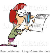Humorous Clip Art of a Red Haired Woman Using a Magnifying Glass to Inspect the Fine Print on a Document by Toonaday