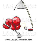 Humorous Clip Art of a Red Man Trying to Blow a Golf Ball into the Hole by Leo Blanchette