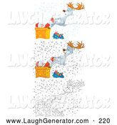 Humorous Clip Art of a Reindeer Pulling Santa from a Chimney in Three Versions by Alex Bannykh