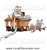June 4th, 2014: Humorous Clip Art of a Reindeer Resting by Santa As He Organizes His Naughty and Nice Lists by Dennis Holmes Designs