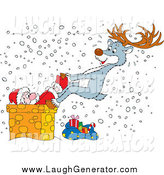 Humorous Clip Art of a Reindeer Saving Santa from a Chimney by Alex Bannykh