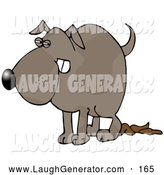 Humorous Clip Art of a Revengeful Dog Pooping Thoroughly on the Floor by Djart