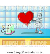 Humorous Clip Art of a Robot About to Toast a Love Heart by