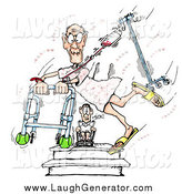 Humorous Clip Art of a Romantic Geriatric Senior Man Running Through the Hospital with a Walker and Fluids, Hearts All Around As a Person in a Wheelchair Watches by Spanky Art