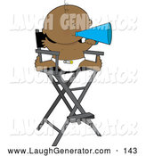 Humorous Clip Art of a Round and Cute African American Baby in a Diaper, Seated in a Director by Maria Bell