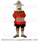 Humorous Clip Art of a Royal Canadian Mounted Police (RCMP) Officer in a Red Coat Jacket by Djart