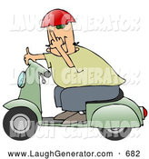 August 6th, 2013: Humorous Clip Art of a Rude White Man Wearing a Red Helmet, Green Shirt and Blue Pants, Riding past on a Green Scooter and Flipping the Viewer off by Djart
