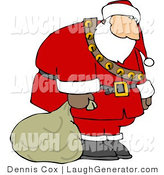 Humorous Clip Art of a Sad, Tired, Exhausted Santa Carrying Sack of Christmas Presents to His Last Few Houses by Djart