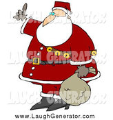 Humorous Clip Art of a Santa Carrying His Sack of Toys at His Side and Hitchhiking by Djart