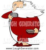 Humorous Clip Art of a Santa Claus Holding a Hair Brush and Blow Drying His Beard by Djart