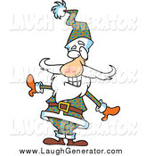Humorous Clip Art of a Santa Claus Posing in a Plaid Suit and Hat by Toonaday