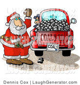 Humorous Clip Art of a Santa Claus with a Red Truck of Coal Ready for Delivery to Bad Boys and Girls on Christmas by Djart