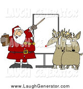 Humorous Clip Art of a Santa Pointing to a Blank Board and Discussing Christmas Flight Rules with Reindeer by Djart