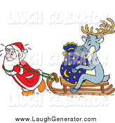 Humorous Clip Art of a Santa Sweating and Pulling a Reindeer and Sack on a Wooden Sled by Alex Bannykh